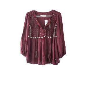 Abercrombie and Fitch Tribal Design Maroon Blouse